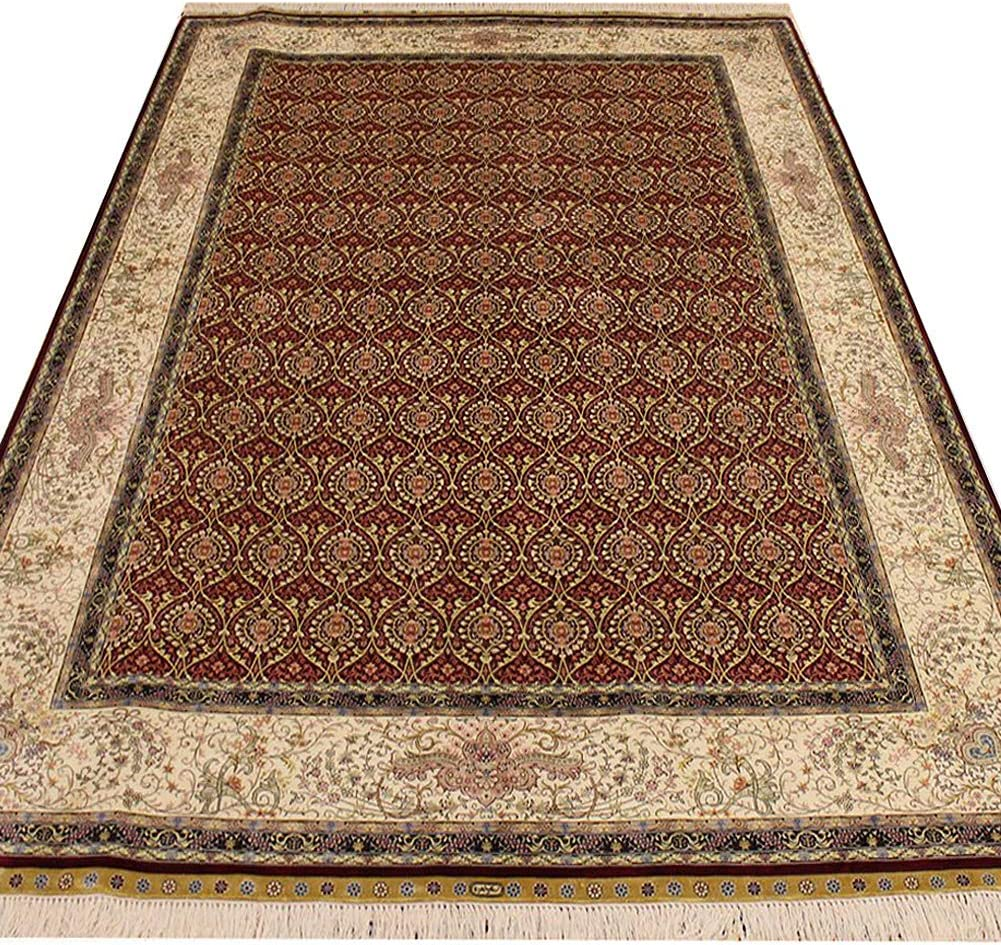 free shipping Yuchen 6'x9' Hand Knotted Persian Silk K Oriental Red Rug Flower Online limited product