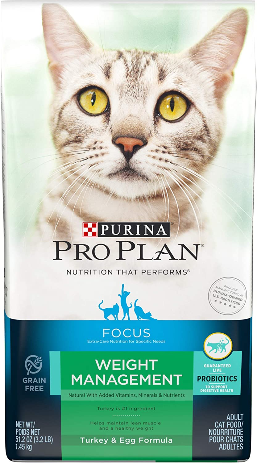 Purina Pro Plan Focus Weight Management Natural Turkey & Egg Formula with Added Vitamins, Minerals & Nutrients Adult Dry Cat Food  3.2 lb. Bag