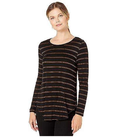 Karen Kane Faux Leather Detail Tee (Stripe) Women