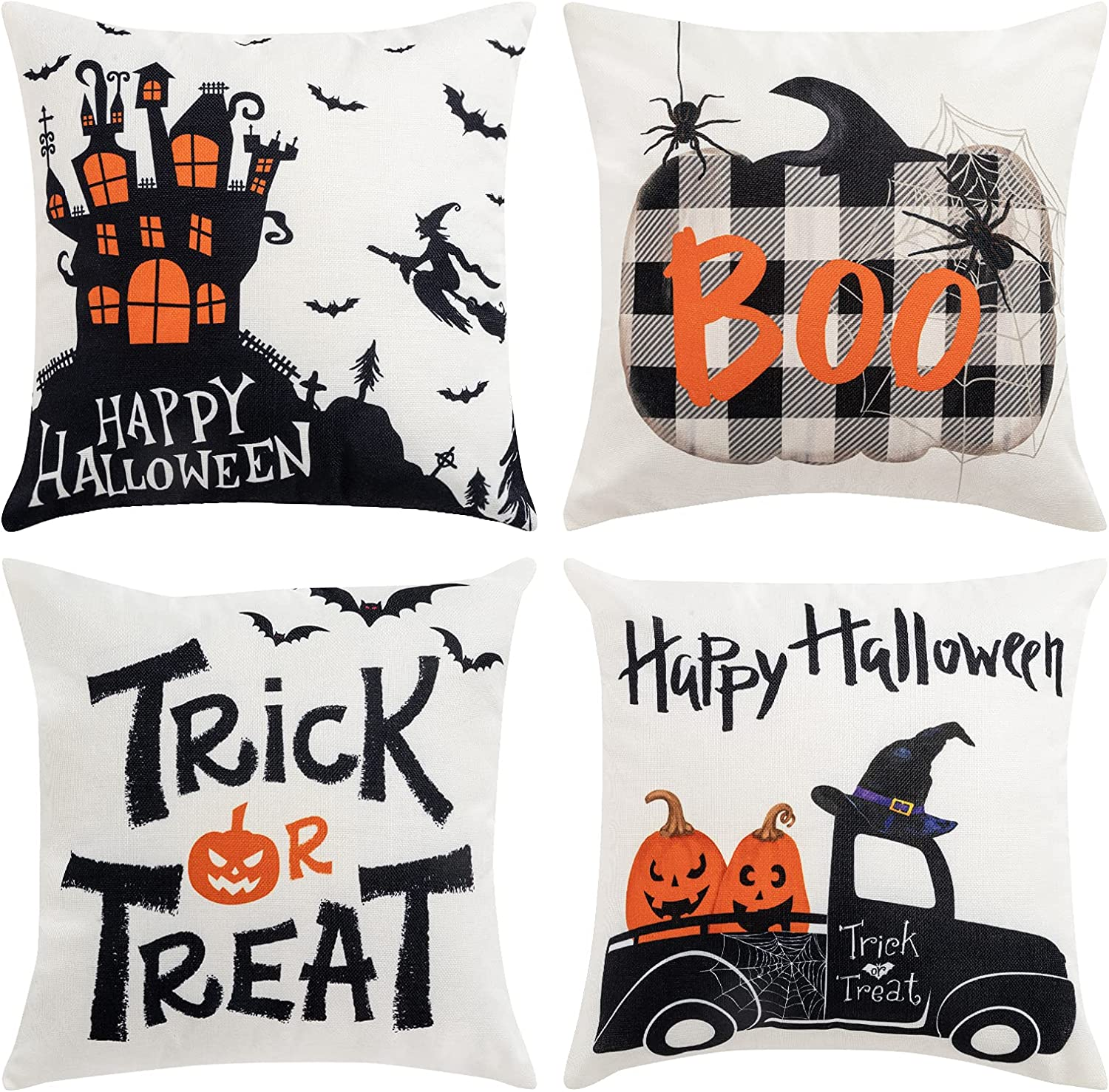 Hogardeck Halloween Pillow Covers Decorations, 18x18 Boo Trick or Treat Happy Halloween Square Decorative Couch Pillow Cases, Set of 4 Halloween Throw Pillow Cover