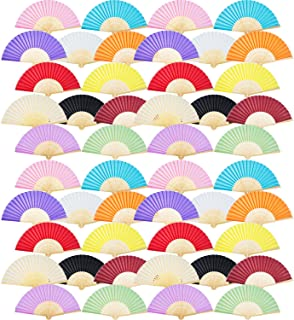 Ventiladores de mano de bambú plegables de seda, ventiladores plegados a mano para regalo de bodas de la iglesia, bomboneras, decoración DIY
