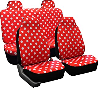 FH Group FB115RED114 Full Set Seat Cover (Stylish Polka Dot High Back Red)