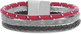 Steve Madden Stainless Steel Braided Leather Red Cord Mesh Chain Bracelet for Men