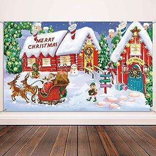 Blulu Materiales de Decoración de Navidad, Tela Extra Grande Pancarta de Escenas de Pared de Polo Norte para Navidad, Pancarta de Merry Christmas Fondo de Foto de Pueblo de Santa