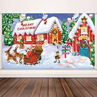 Christmas Decoration Supplies, Extra Large Fabric North Pole Wall Scene Setters for Christmas Decoration, Merry Christmas Banner Santa's Village Photo Booth Backdrop Background Banner
