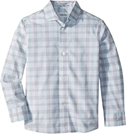 Calvin Klein Kids - Roadmap Plaid Long Sleeve Shirt (Little Kids)