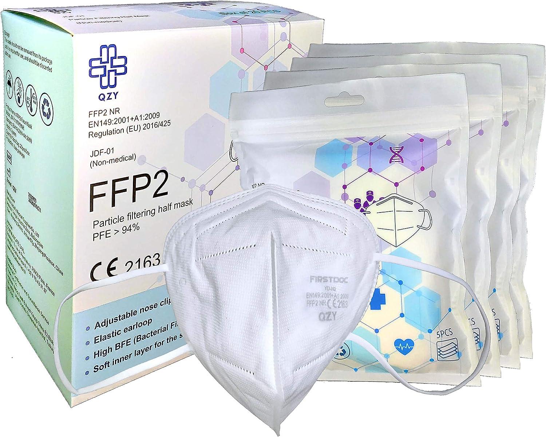 QZY - Mascarilla FFP2 Caja De 20 Mascarillas Certificado CE Con banda elástica y pieza nasal ajustable 5 capas de filtración, mascarillas FFP2, Protección bucal, Respirador