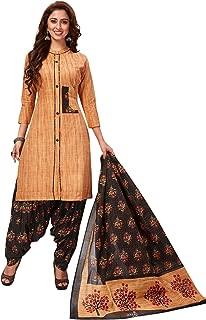 Jevi Prints Women's Cotton Printed Straight Stitched Salwar Suit Set (SUIT_SP-4641_Beige & Brown)