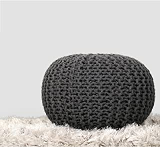 RAJRANG BRINGING RAJASTHAN TO YOU Charcoal Grey Hand Knit Pure Cotton Stuffed Pouf Braid Cord Stitched Round Foot Home Decorative Perfect Patio Seating, D-20 x H-14 inch,