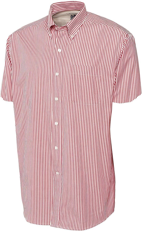 Cutter & Buck Men's Big And Tall Bengal Stripe Shirt, Cardinal Red-LT