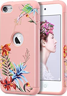 ULAK iPod Touch 7th Generation Case, Case for iPod Touch 5 & 6, Slim Fit Protective Hybrid Dual Layer Soft Silicone and Hard Back Cover for Apple iPod Touch 5th / 6th / 7th Gen, Pink+Tropical Flower