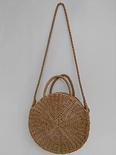 Straw bag handbag round basket zip StrawsomeLeather