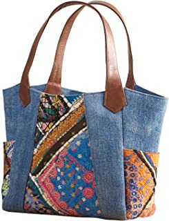 Catalog Classics Women/'s Suede and Floral Shoulder Bag Black Leather Tote