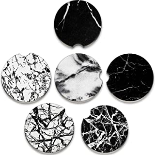 6 Pieces 2.56 Inch Marble Print Car Coasters Ceramic Absorbent Drink Cup Holders Coaster Round Car Cup Holders Pad Mat for...