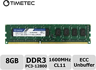 Timetec Hynix IC 8GB DDR3L 1600 MHz PC3-12800 sin búfer ECC 1.35V CL11 2Rx8 Dual Ranking 240 Pines UDIMM Server Memory RAM Module Upgrade (8 GB)