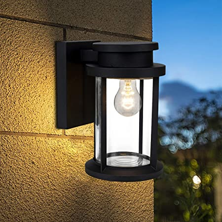 Home Luminaire 31703 Spence 1 Light Outdoor Wall Lantern With Seeded Glass And Built In Gfci Outlets Black Amazon Com
