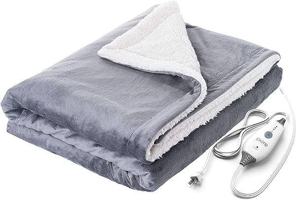 纯浓缩 PureRelief 毛绒加热投掷快速加热 50X60 电热毯 4 热设置收纳袋和柔软的可机洗的 Micromink 和夏尔巴舒适的沙发或床使用