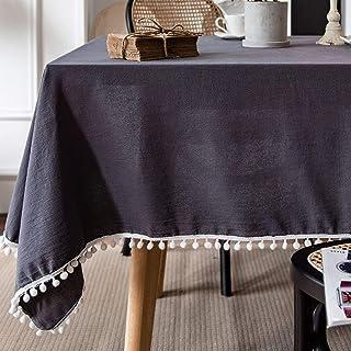 YUANYOU Tovaglia rettangolare nera con nappa, tovaglia in cotone lavabile per casa, giardino, feste, cucina, decorazione