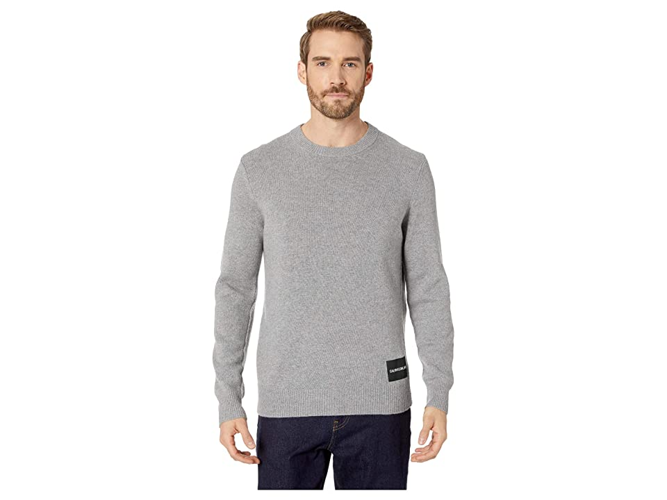 Calvin Klein Jeans Lambswool Pullover with Logo Patch (Grey Heather) Men