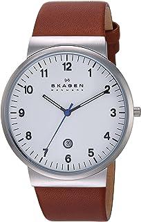 Skagen Men's Ancher Stainless Steel and Leather Quartz Watch