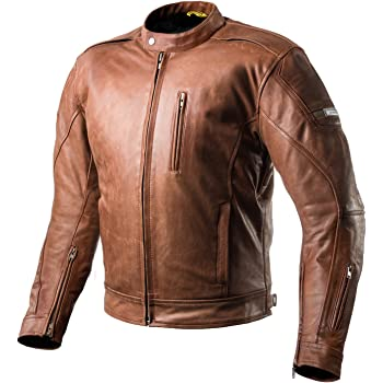 SHIMA Hunter Mens Vintage Leather Motorcycle Jacket With Armor - Brown/Medium