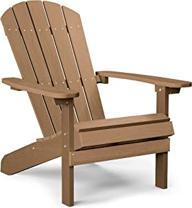 YEFU Plastic Adirondack Chairs Weather Resistant, Patio Chairs 5 Steps Easy Installation, Looks Exactly Like Real Wood, Widely Used in Outdoor, Fire Pit, Deck, Lawn, Outside, Garden Chairs (Teak)