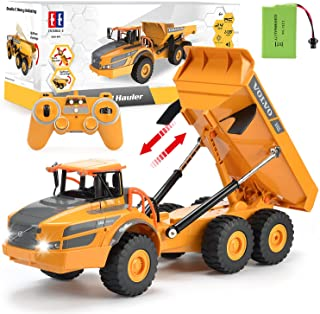 Volvo RC Truck Dump Truck RC Articulated Hauler with Rechargeable Battery 120 Min Play Time RC Toy Construction Truck for All Adults & Kids
