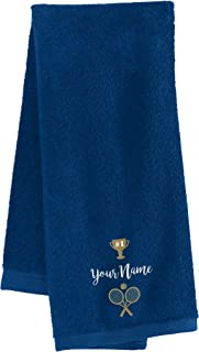 Personalized Custom Tennis Towel - Add Your Embroidered Name - Custom Tennis Towels with Grommet and Carabiner Clip, Hook