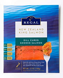 Regal Dill Cured Smoked Salmon - 6 Pack (3.5 Oz Packs) - Smoked Salmon - Raised in New Zealand - Non-GMO, Kosher, BSE-Free - Superfood with Healthy Omega 3 Acids