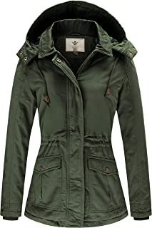 WenVen Women's Warm Casual Cotton Winter Jacket with Detachable Hood