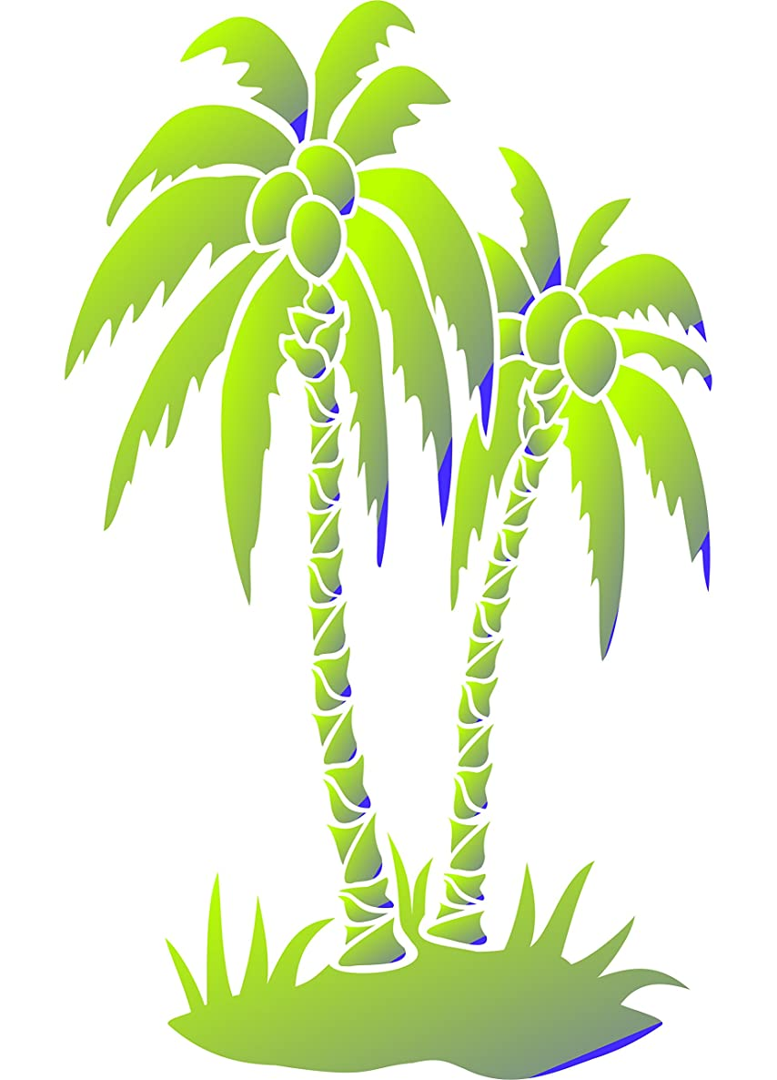"""Palm Trees Stencil - (size 6.5""""w x 8.5""""h) Reusable Wall Stencils for Painting - Best Quality Wall Art Décor Ideas - Use on Walls, Floors, Fabrics, Glass, Wood, Terracotta, and More…"""