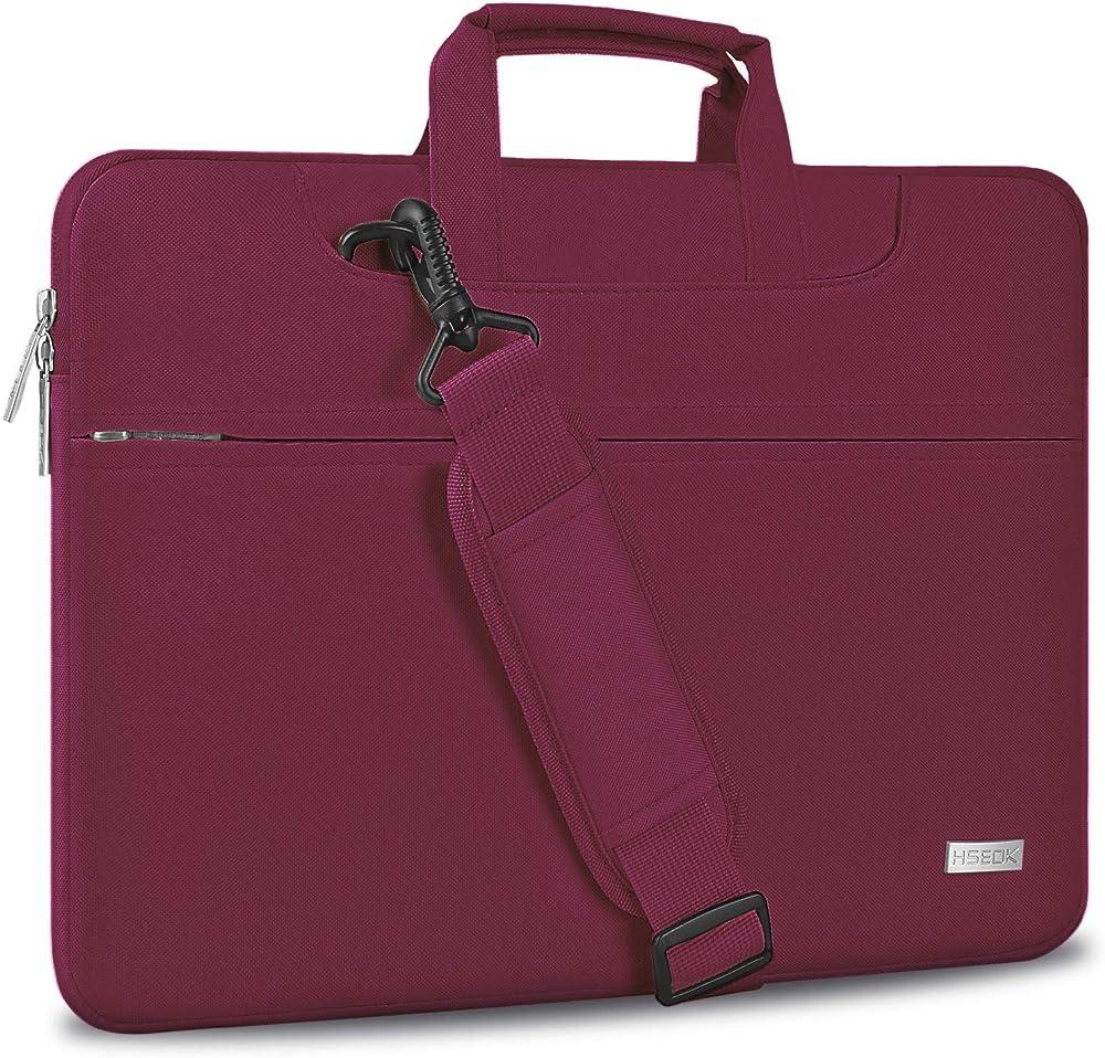Hseok ,borsa a tracolla porta notebook,laptop ,super sottile e impermeabile HS08-156-Wine Red