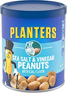 Planters Flavored Peanuts, Sea Salt & Vinegar (6 oz Jars, Pack of 8)