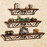 SKAFA Carved Wooden Wall Shelves Set of 3 (Brown)