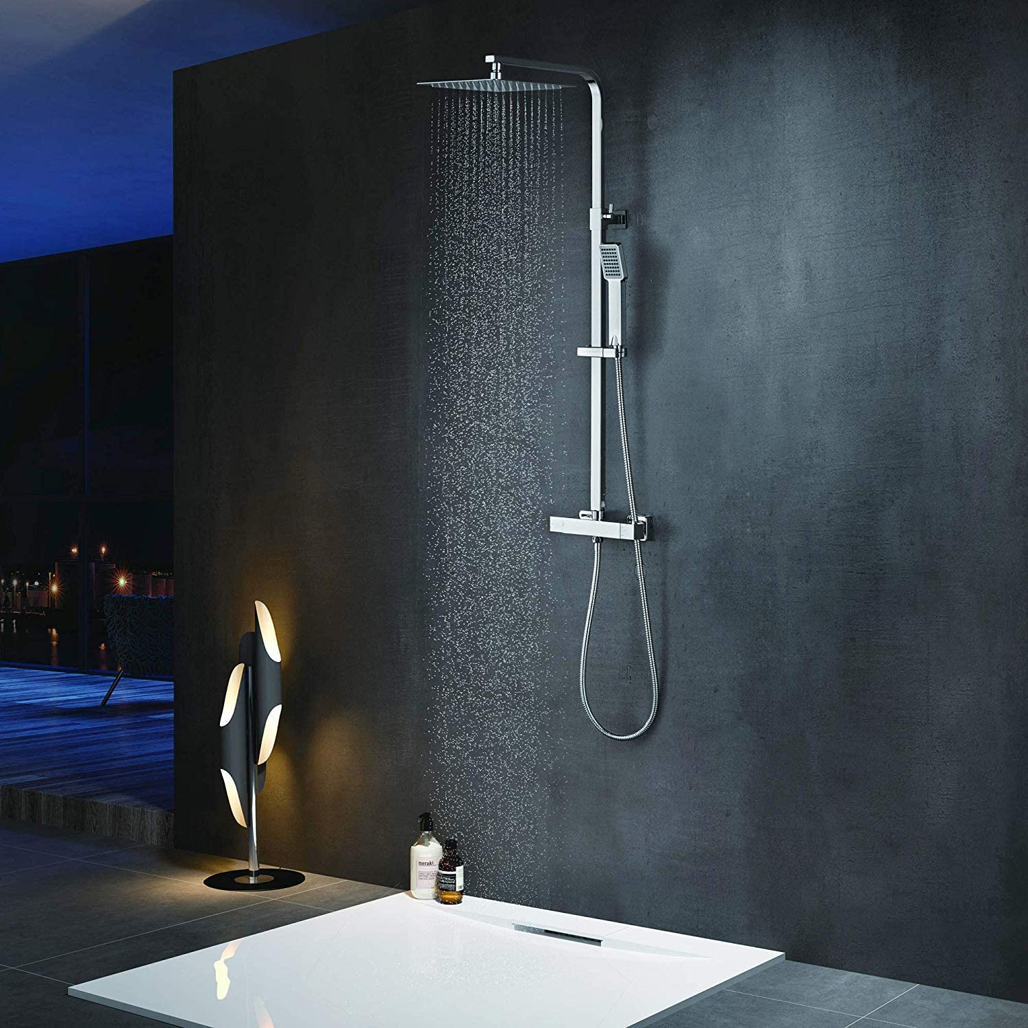 Elbe Mixer Shower Square Thermostatic Shower Column Shower set with square head shower, Chrome _RNS-C06