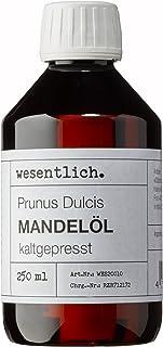 Mandelöl kaltgepresst 250ml - 100% reines Mandelöl Prunus Dulcis von wesentlich. - feines Öl zur Pflege von Haut und Haar - perfektes Massageöl