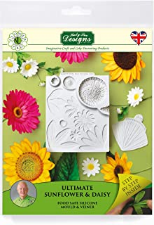 Ultimate Sunflower & Daisy Veiner, Silicone Sugarpaste Icing Mold, Flower Pro by Nicholas Lodge for Cake Decorating, Crafts, Cupcakes, Sugarcraft, Candies and Clay, Food Safe Approved, Made in the UK