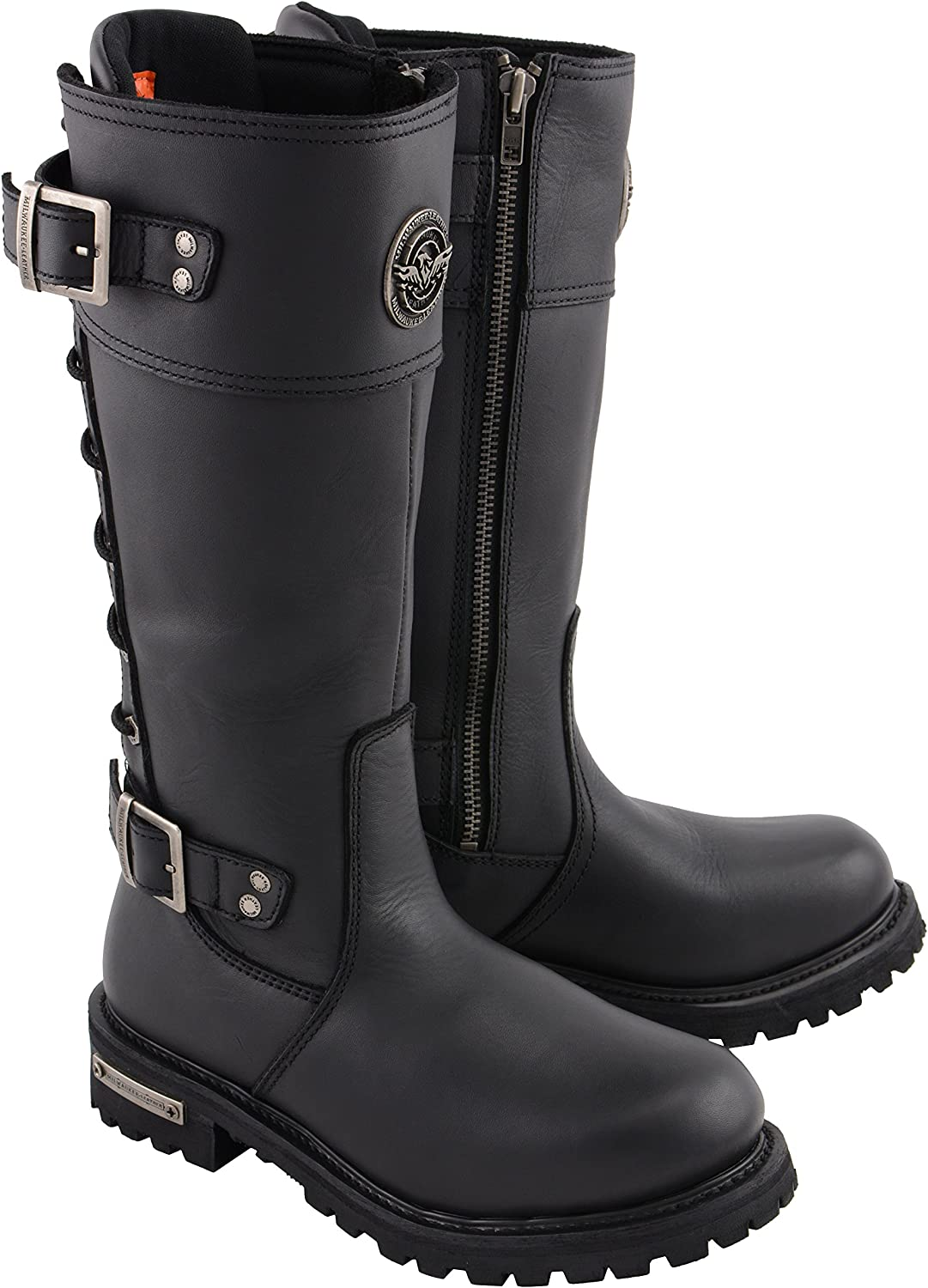 Milwaukee Leather MBL9385-BLACK-5 Women's Calf Laced Riding Boot Black, 5