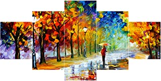 Saumic Craft Set Of 5 Modern Art UV Coated 3D Wooden Wall Painting For Home Decoration / Living Room (75 X 43 CM )