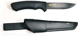 Morakniv Bushcraft Black Serrated Knife with 0.125/4.3-Inch Sandvik