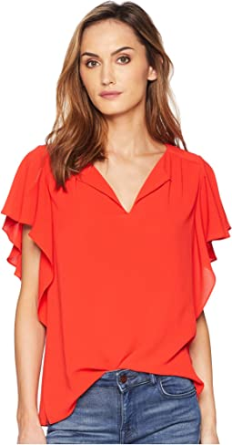 Flutter Sleeve Soft Texture V-Neck Blouse