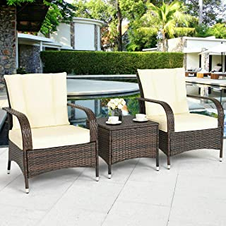 Open Comfortable Relaxing Talking Station Set of 3 Pcs Terrace Deck Pool Brown Weaved Wicker Ivory Padded Cushion Armchair With Glass Top Coffee Table Inner Outdoor Rattan Furniture Set Seat