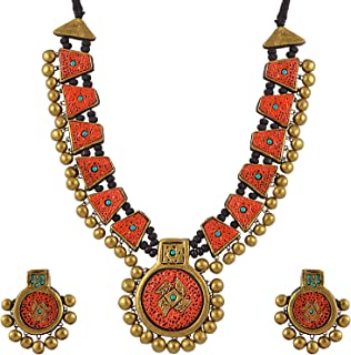 Avarna Terracotta Necklace Set Nsa0021 for Women (Orange)