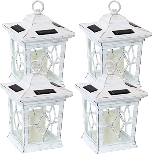 popular Sunnydaze Lucien Outdoor Solar LED Decorative Candle high quality Lantern - Rustic Farmhouse Decor for Patio, Porch, Deck and Garden - Tabletop and Hanging Outside Light - Set of 4 - White discount - 9-Inch outlet sale