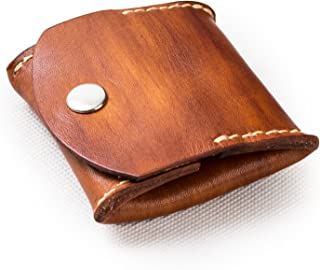 ANCICRAFT Soft Genuine Leather Coin Purse Change Pouch Wallet By Handmade Vintage Brown Gift For Men Women