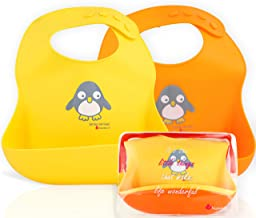 NatureBond Waterproof Silicone Baby Bibs for Babies & Toddlers (2 PCs)   Free Waterproof Pouch   Wipes Clean Easily, Soft,...
