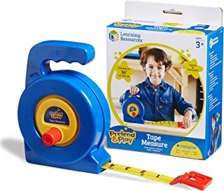 Learning Resources Play Tape Measure, 3 Feet Long, Construction Toy, Easy Grip, Ages 3+,Multi-color