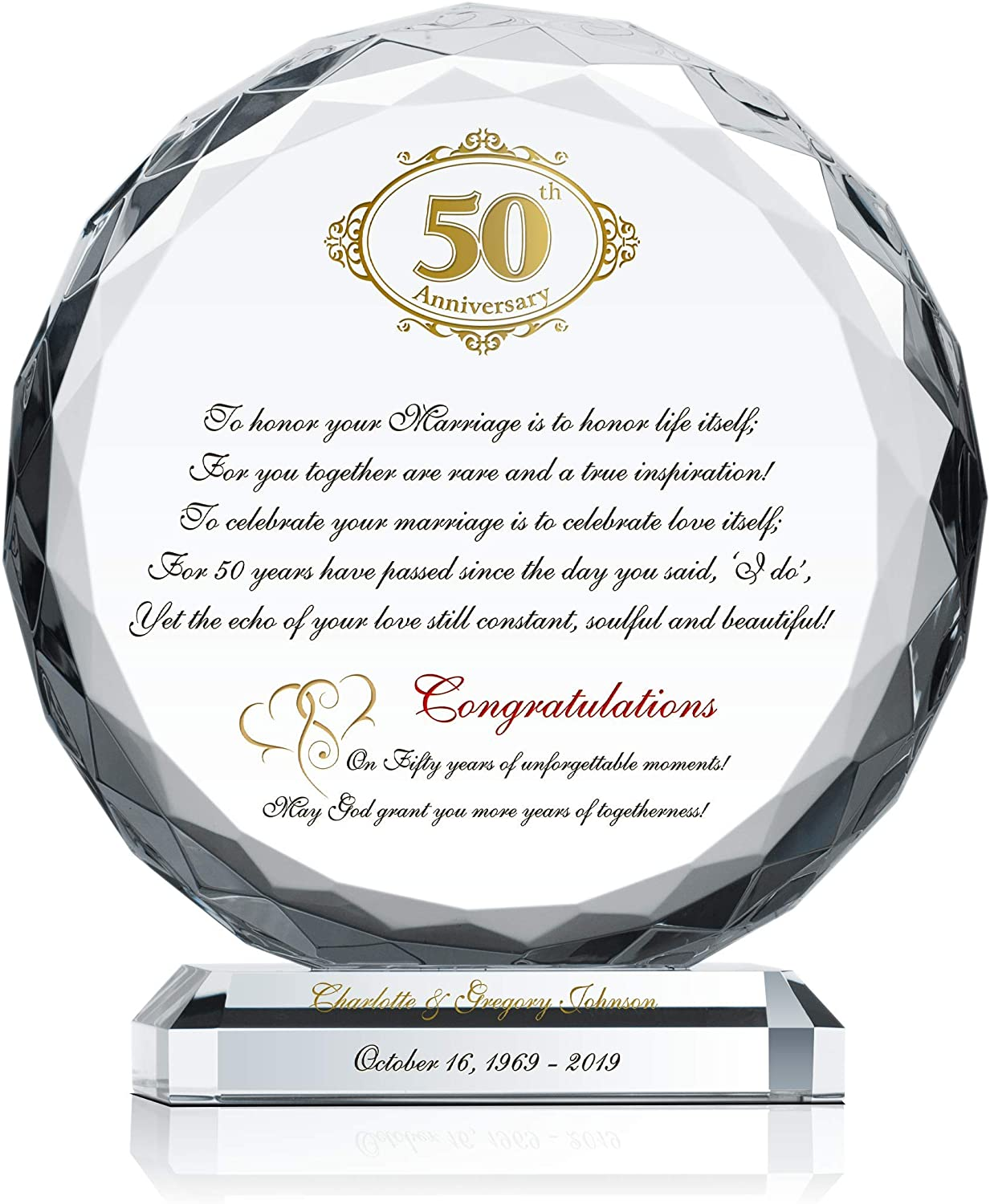 Crystal Central Personalized In a popularity 50th Wedding Ranking TOP12 Cus Plaque for Couple