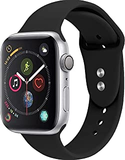 NOMBARGO Sport Watch Band Replacement for Apple Watch Band 42mm 44mm Comfortable Silicone Wrist Band Compatible with Series 1 to 5 (Black)