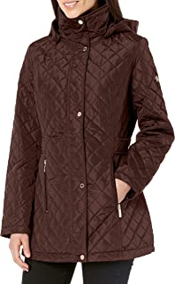 Calvin Klein Women's Classic Quilted Jacket with Side Tabs, Chianti, Large